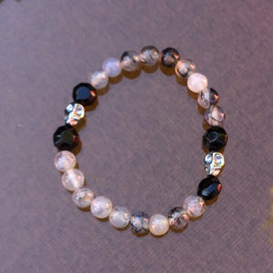 Men's Hematite skull and Dragon Vein Agate with Black Agate gemstone stretch bracelet