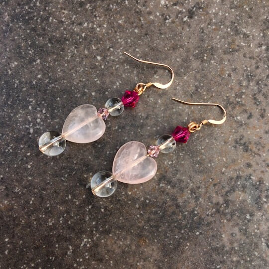 Rose quartz, Clear Quartz, and Swarovski crystal with rose gold filled drop earrings