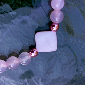 "Women's ""merde"" curse bracelet pink agate, rose hematite, and mother of pearl"