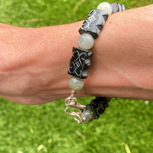 Black old jade and labradorite with sterling silver clasp