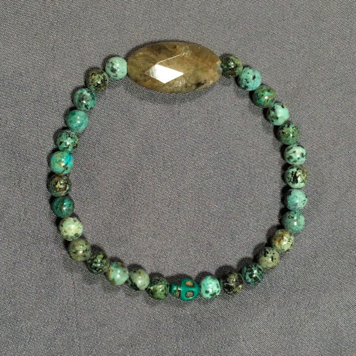 African Turquoise, Labradorite and Magnesite Bracelet