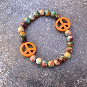 Turquoise Howlite Peace and Rainbow Jade Stretch Bracelet Men's Sizes