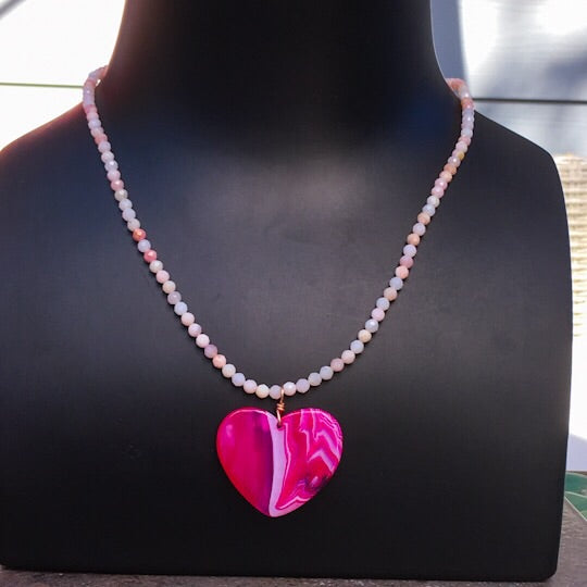 Women's Pink Agate Heart Pendant & Pink Opal Gemstone Necklace