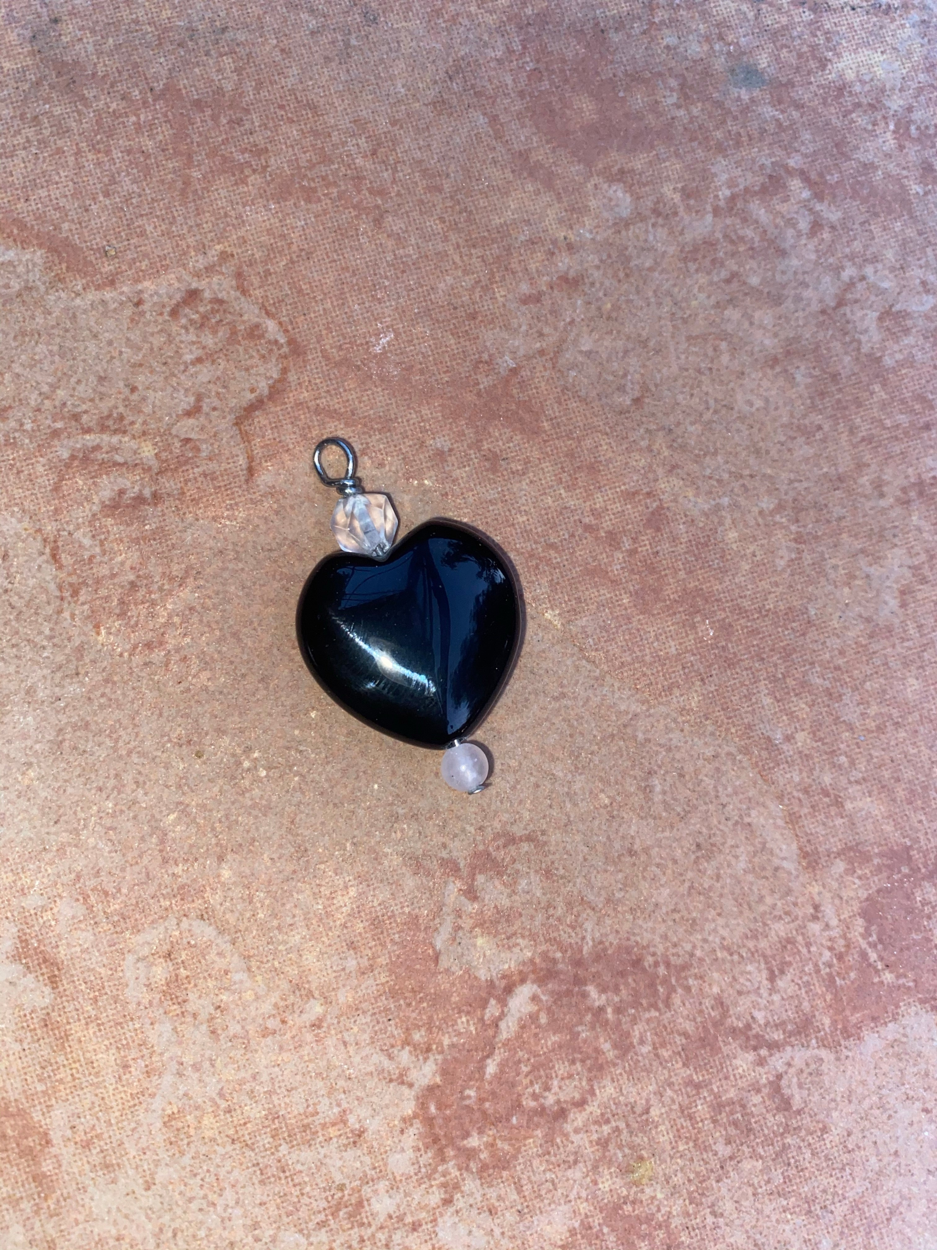 Onyx Heart and Gemstones Pet Charm