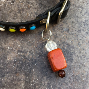 Pet Charm of Red Jasper, Tiger Eye & Quartz