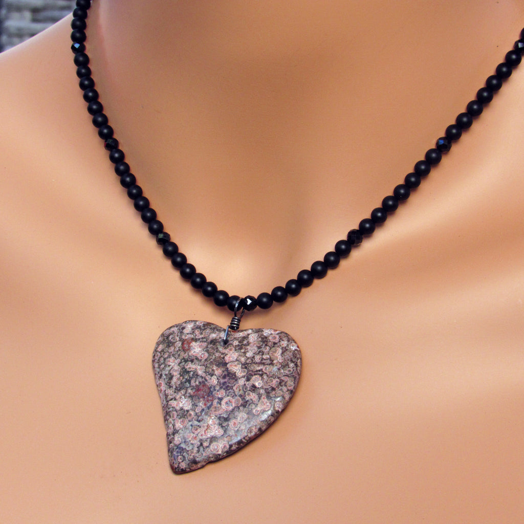 Leopard Print Jasper Gemstone Heart Pendant on Onyx and Spinel Necklace