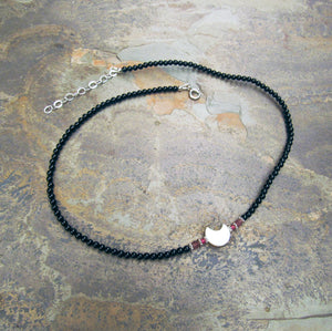 Mother of Pearl Moon Choker w/ Onyx, Pink Tourmaline, Pink Topaz, and Sterling Silver