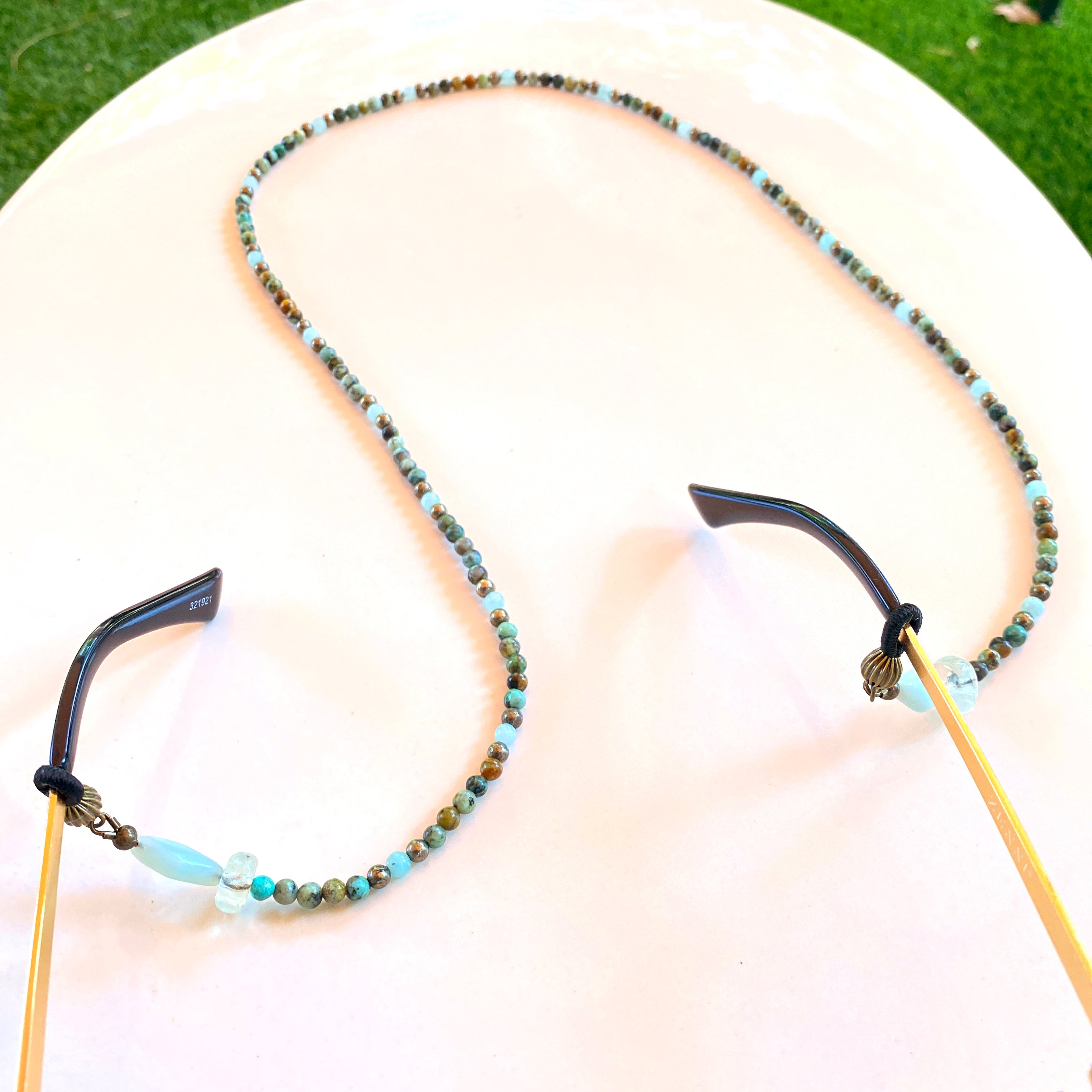 Amazonite, African Turquoise and green Amethyst Gemstone eyeglass holder