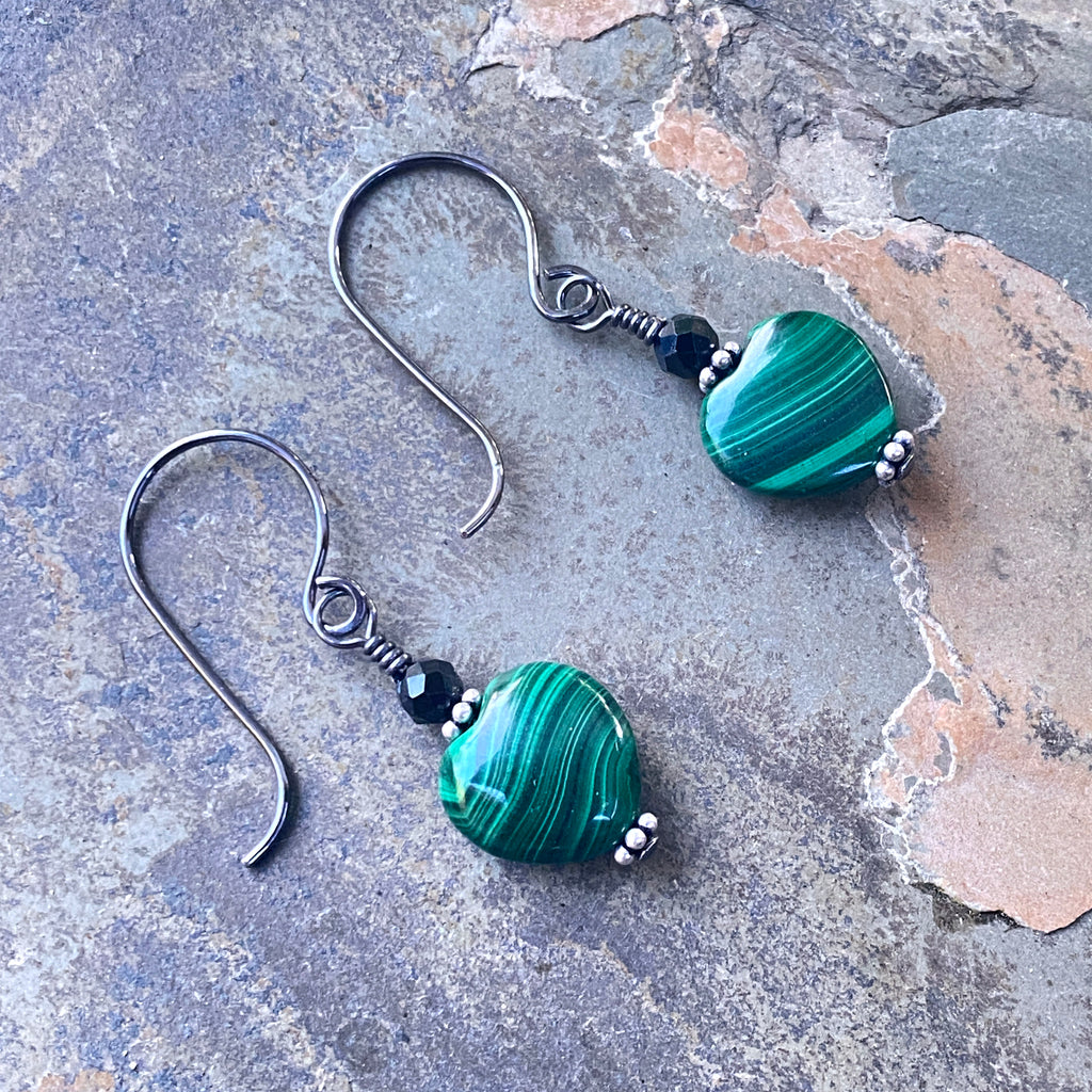 Malachite and Black Spinel w/ Oxidized Sterling Silver Drop Earrings