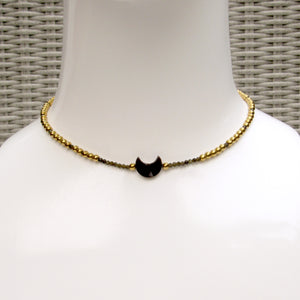 Mother of Pearl Moon Choker, Gold Hematite, Gold Obsidian, and 14 kt gf Components