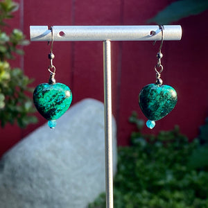 Chrysocolla and apatite oxidized sterling silver heart drop earrings