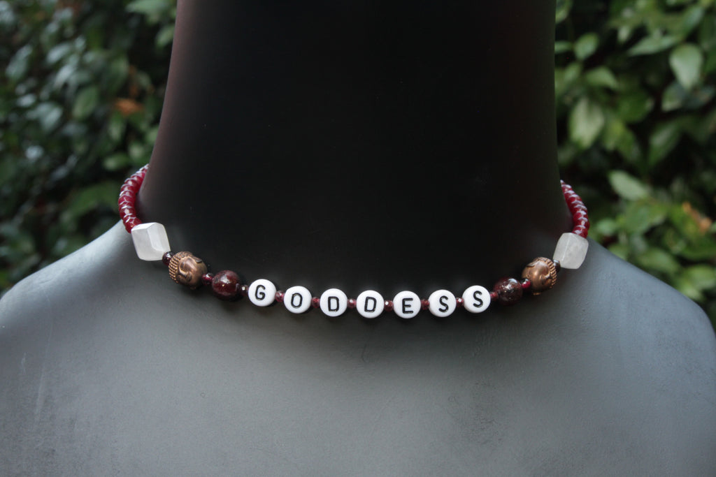 "Women's Red Jade & Rose Quartz "" GODDESS"" necklace"