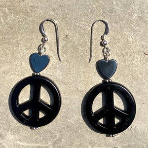 Howlite Peace Sign w/ Hematite Heart Drop Earrings in Choice of colors