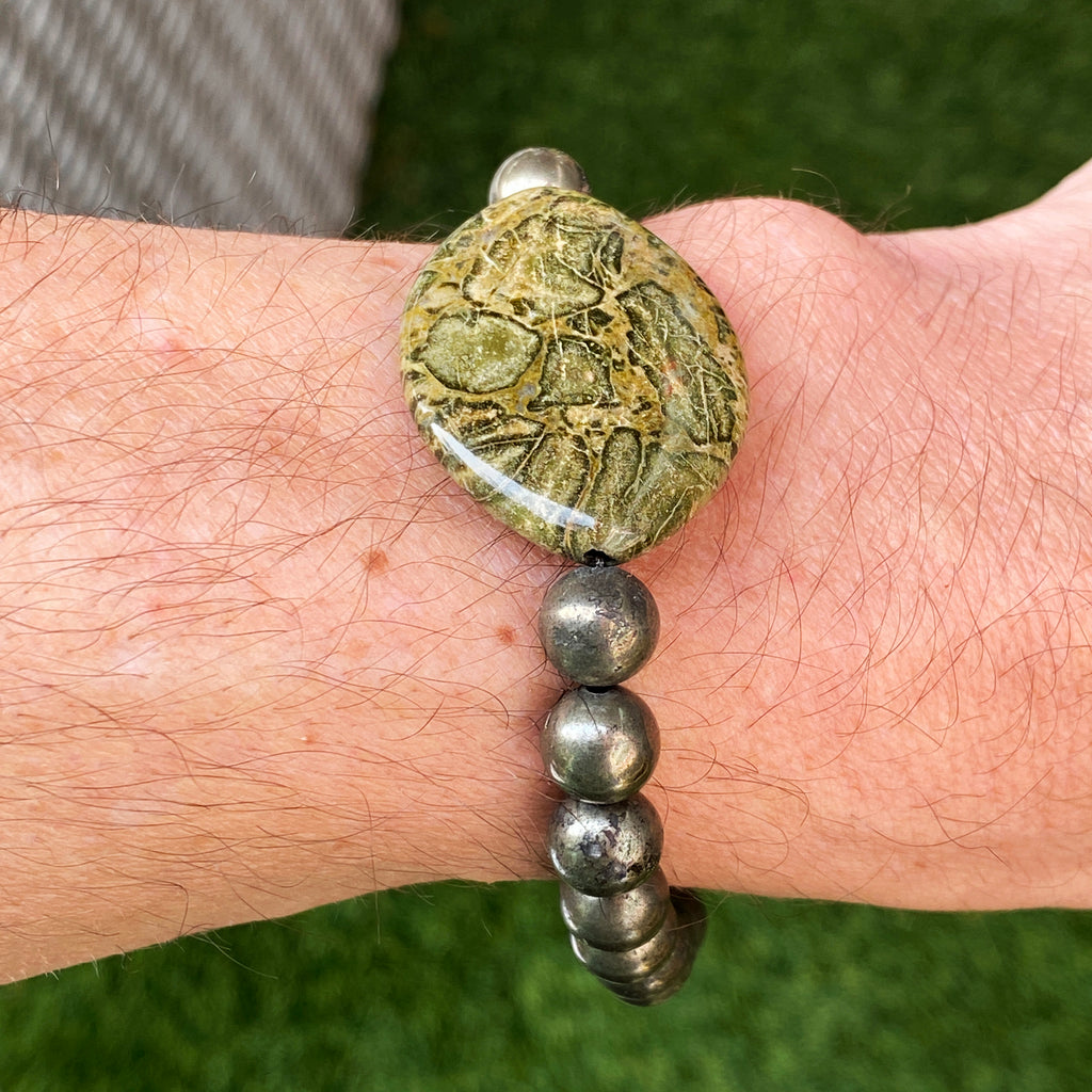 African Green Breciated Jasper Gemstone, Pyrite, Fluorite Stretch Bracelet