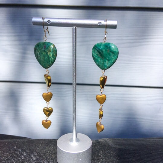 Green Jasper & gold Hematite Hearts long drop Earrings