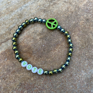 Unisex Green Hematite Gemstone VOTE bracelets