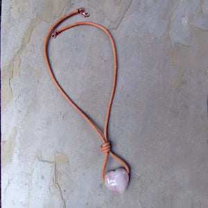 Rose Quartz Heart Pendant on Leather with Copper Clasp