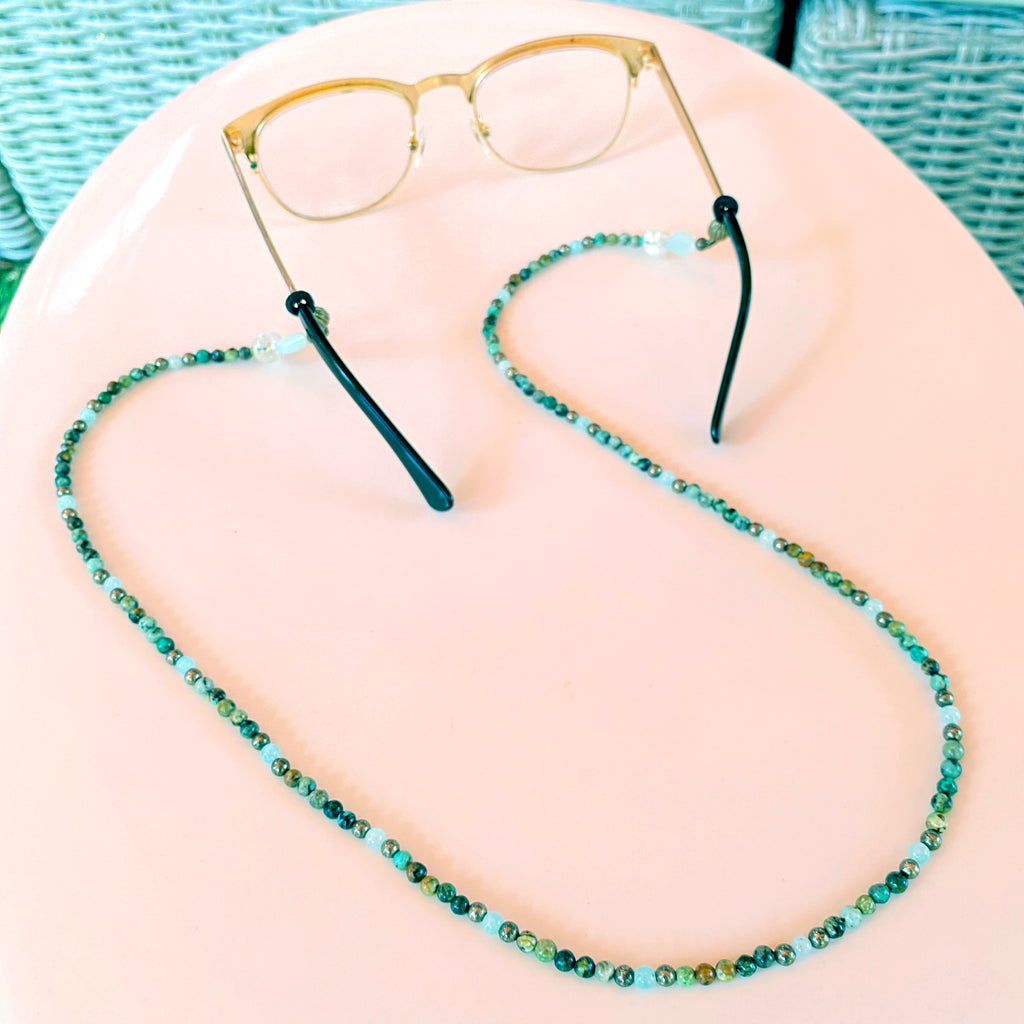 Amazonite, African Turquoise, Pyrite and green Amethyst Gemstone eyeglass holder