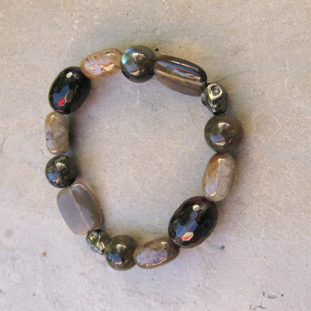 Men's Smokey Topaz, Rutilated Quartz, Hematite Skull, Black Labradorite Stretch Bracelet