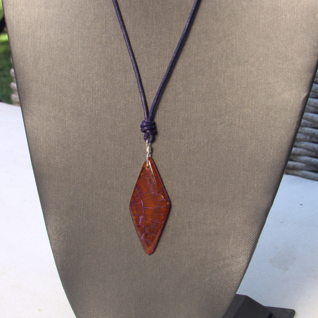 Dragon's Vein Agate gemstone, Sterling Silver, and Leather