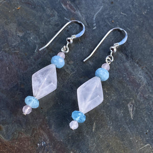 Rose quartz and aquamarine gemstone sterling silver drop earrings