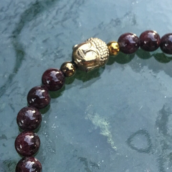 Garnet GODDESS and Buddha head Bracelet