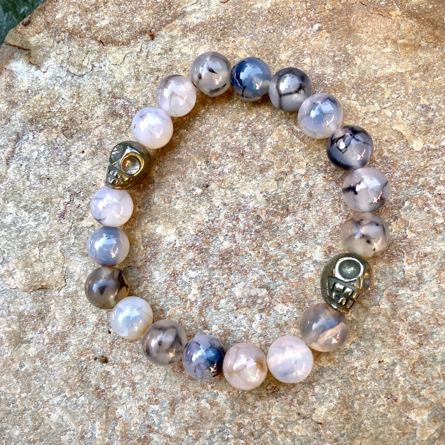 Dragon's Vein Agate and Pyrite Skulls Stretch Bracelet