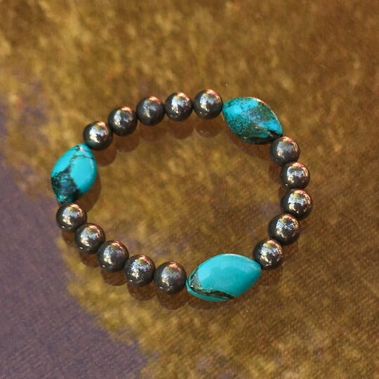 Genuine Turquoise and Pyrite Gemstone stretch bracelet
