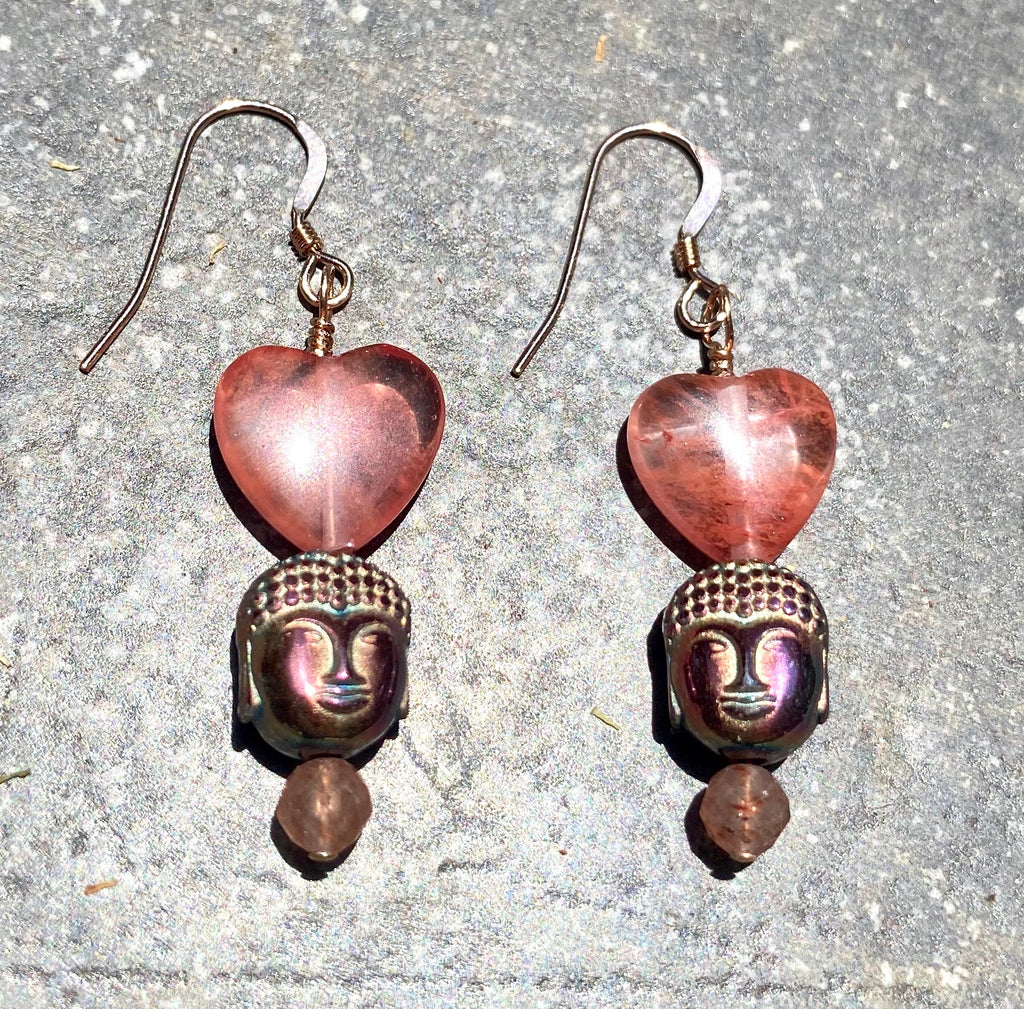 Rainbow Hematite Buddha with rose quartz hearts gemstone Earrings