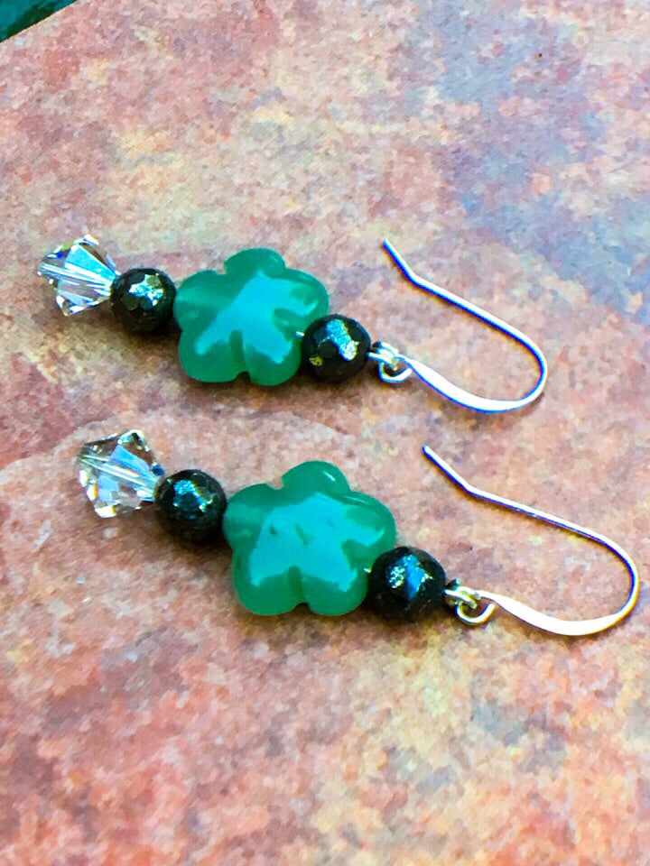 Green aventurine & pyrite earrings