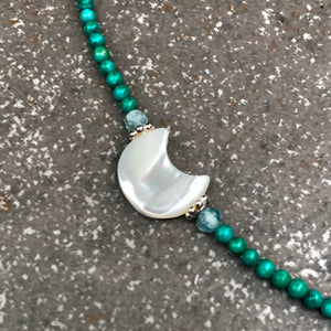 Mother of Pearl Moon Necklace w/ Apatite, Turquoise, and Sterling Silver