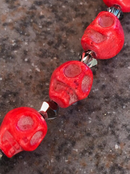 Women's Red Skull Necklace