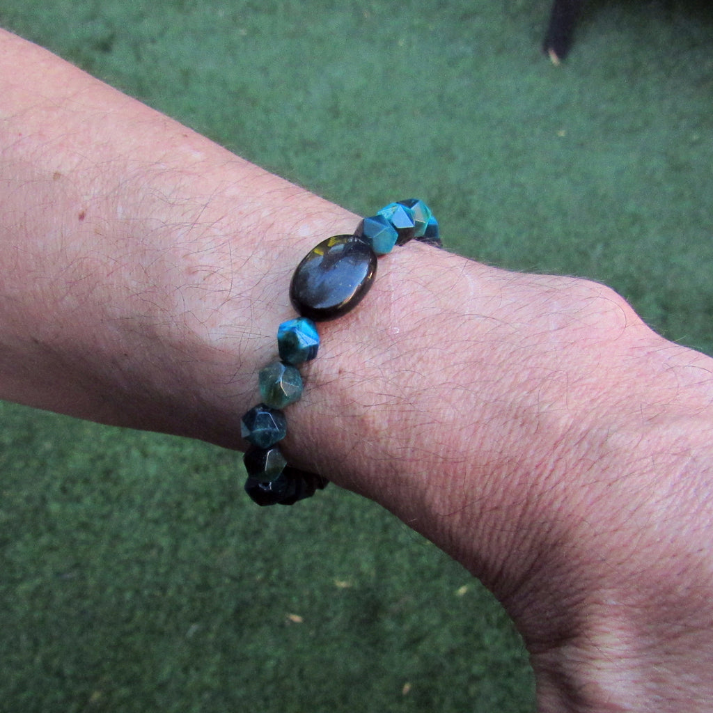 Men's Blue Tiger's Eye, Shungite, and Howlite Skull Stretch Bracelet