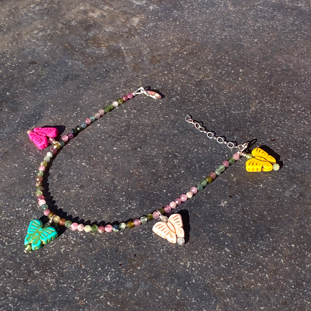 Howlite butterfly and mixed tourmaline Sterling Silver  anklet