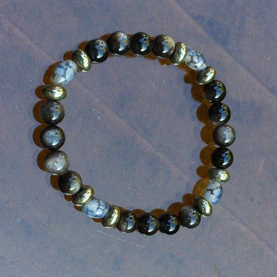 Men's Silver Obsidian, Pyrite and Dragon's Vein Agate Gemstone stretch bracelet