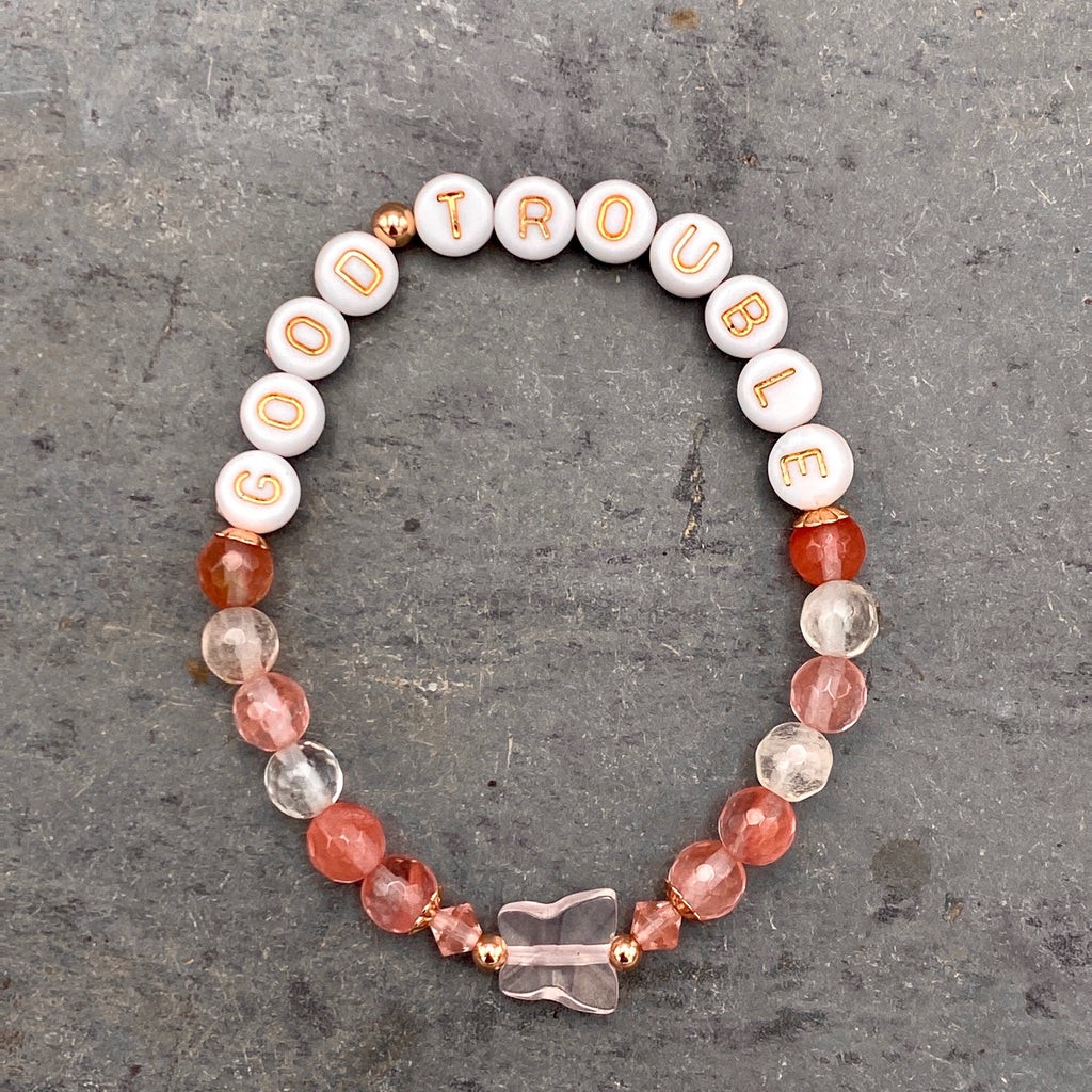 """Good Trouble"" Cherry Quartz Jasper, 14 kt GF, Rose Quartz, & Cherry Quartz Stretch Bracelet"