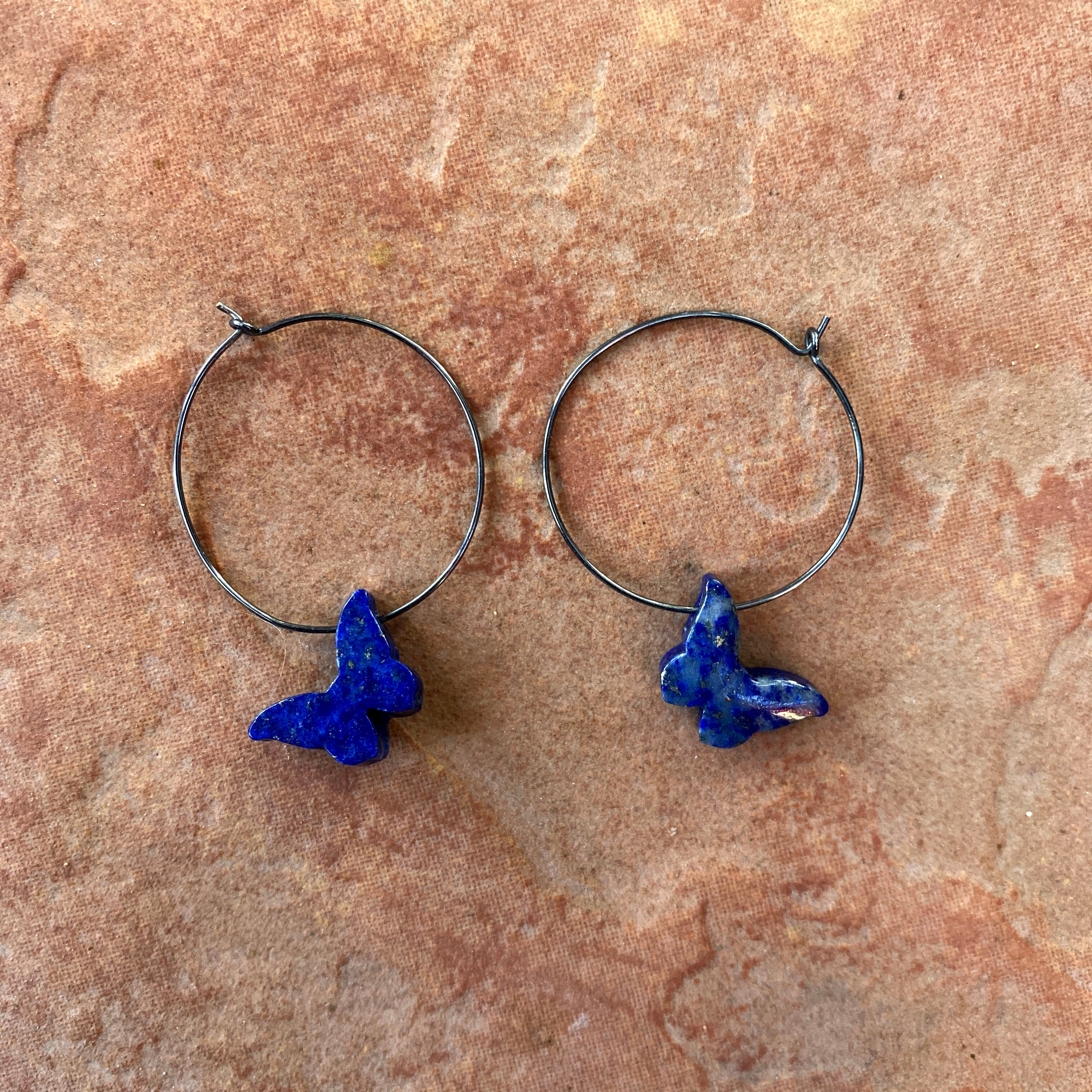 Oxidized Sterling silver hoops with Lapis Lazuli Gemstone butterflies