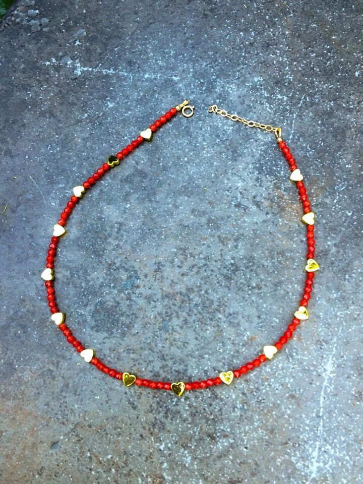 Women's Red Agate Choker Necklace