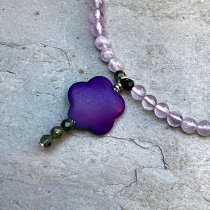 Amethyst, Green Tourmaline, and Howlite, Sterling Silver Anklet