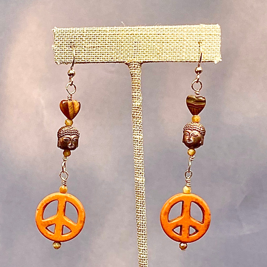 Howlite Peace Signs, Tiger's Eye, Hematite, and 14 Kt Gf Drop Earrings