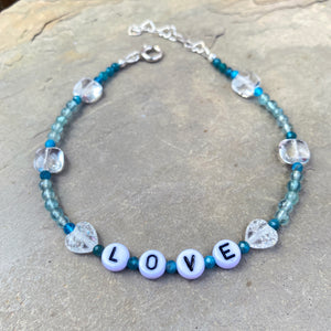 "Blue Apatite ""LOVE"" anklet with Vlear Quartz Gemstone heart beads"