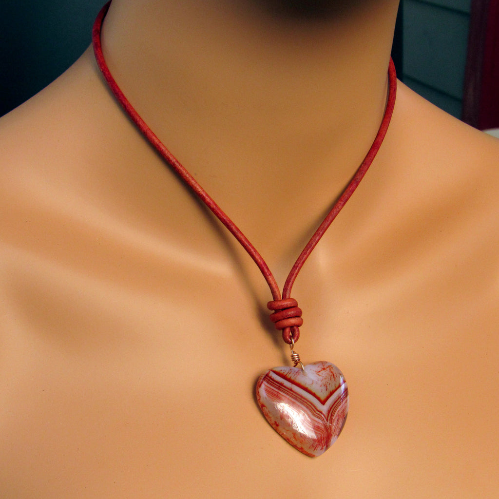Red Onyx Agate Gemstone Heart with Copper on Leather Necklace