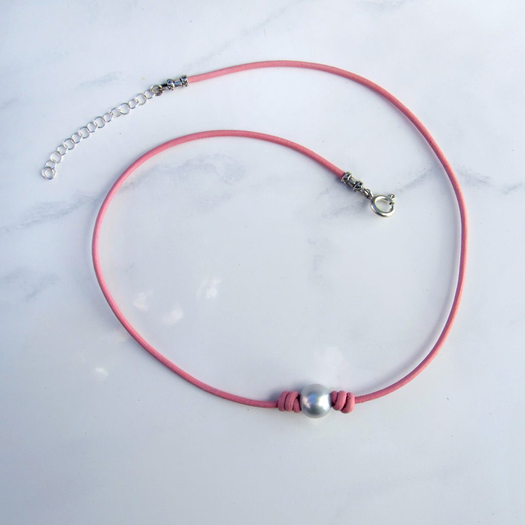 Freshwater Pearl Choker on Pink Leather with Sterling Silver Clasp