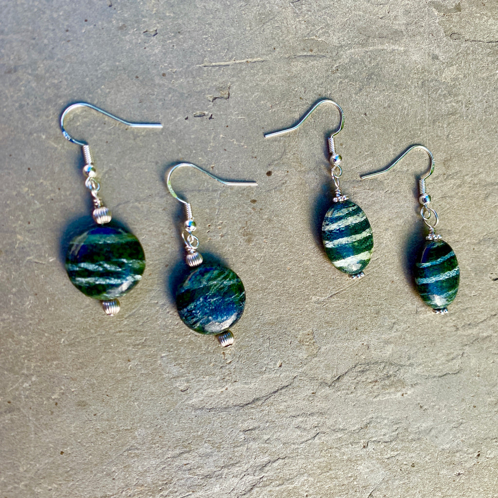 Green Zebra Jasper Gemstone and Sterling Silver Drop Earrings