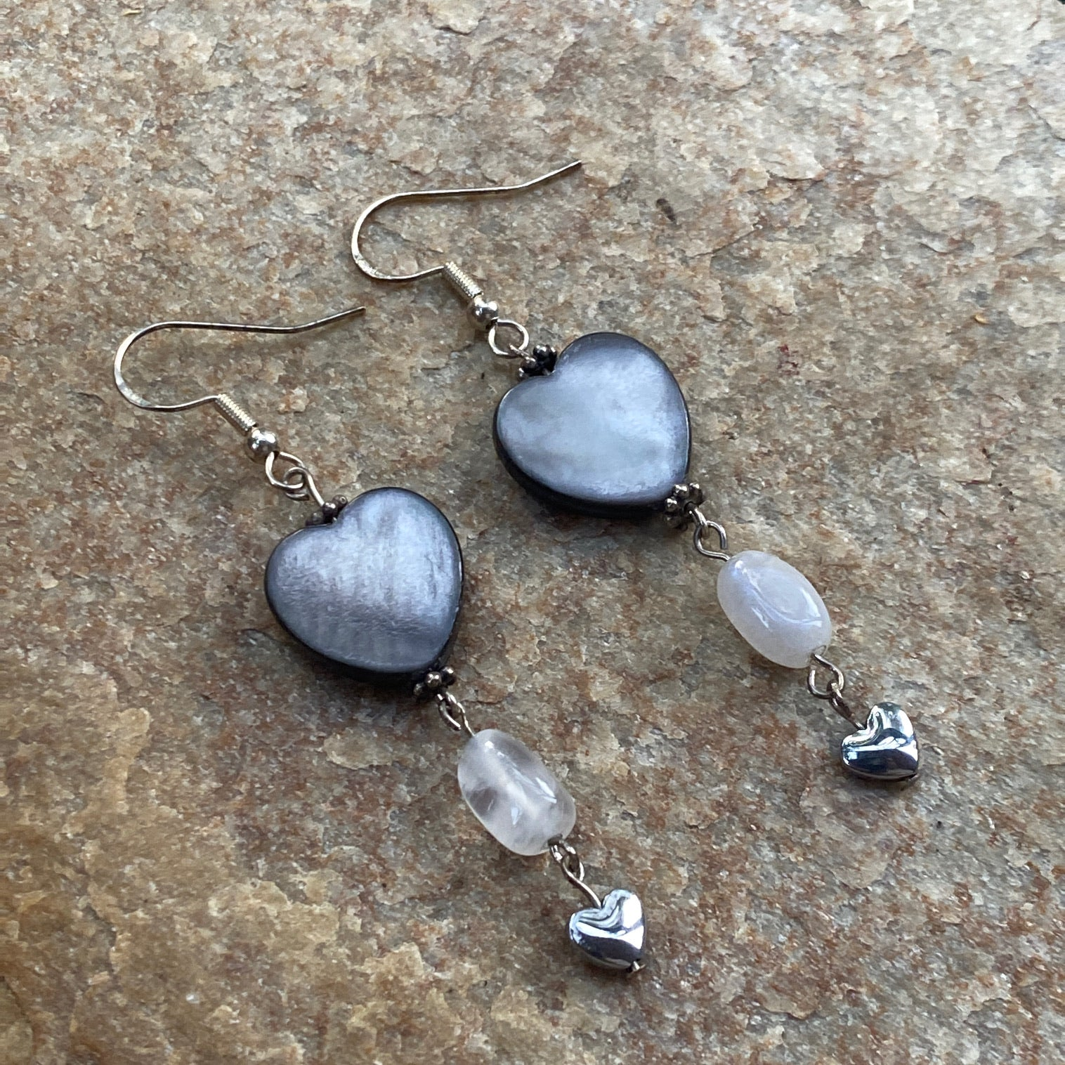 Mother of Pearl, Moonstone, Hematite, and Sterling Silver Drop Earrings