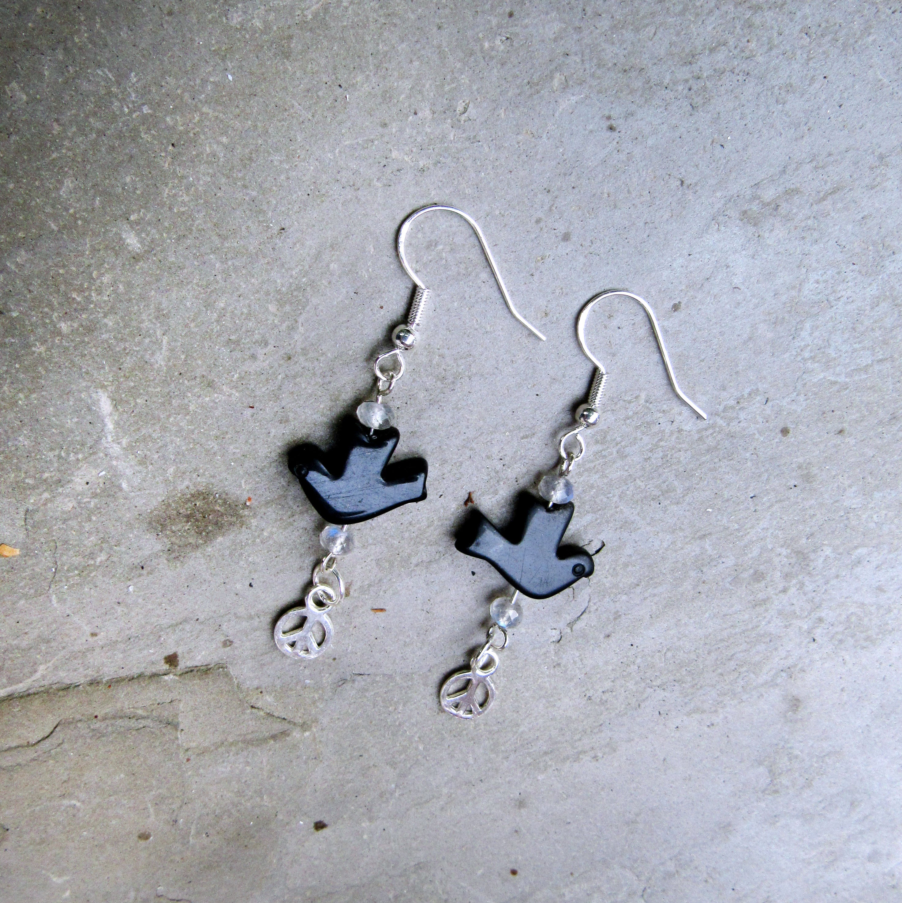 Onyx Dove, Labradorite, and Sterling Silver Peace Sign Drop Earrings