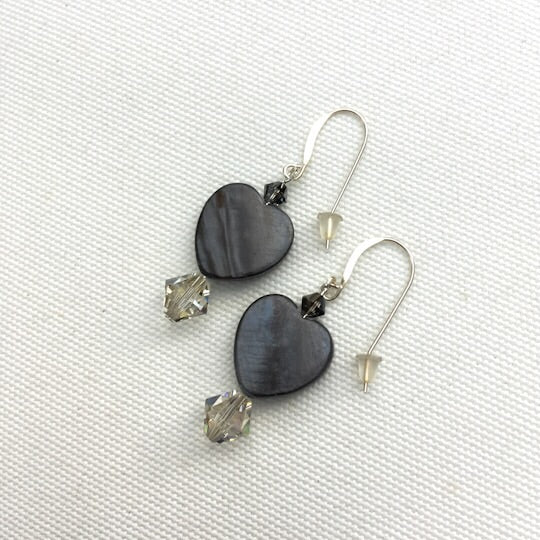 Mother of Pearl gray Heart and Swarovski sterling silver earrings