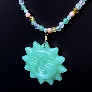Jade pendant with 14 kt GF wire and Gemstone chain necklace
