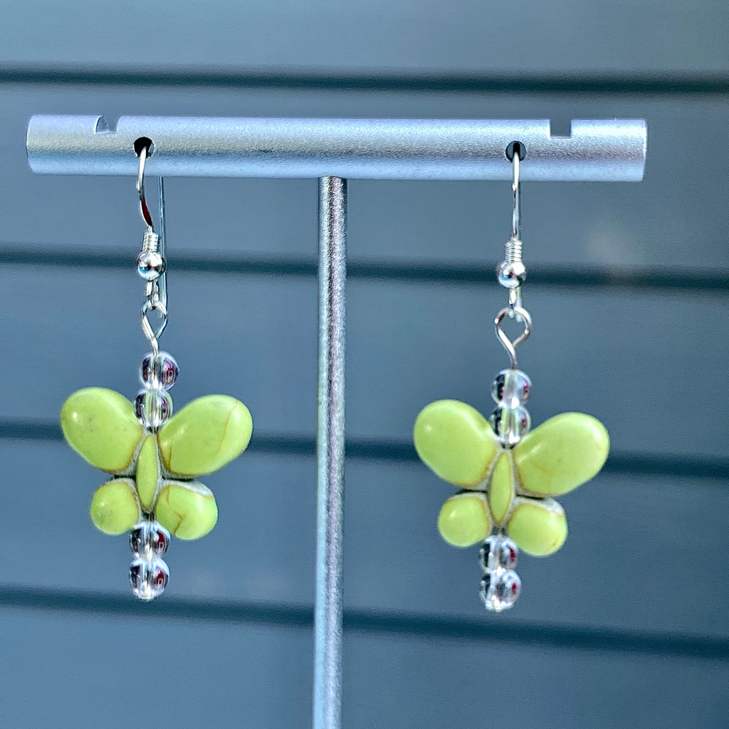 Howlite Butterfly and Clear Quartz Butterfly Sterling Silver Drop Earrings