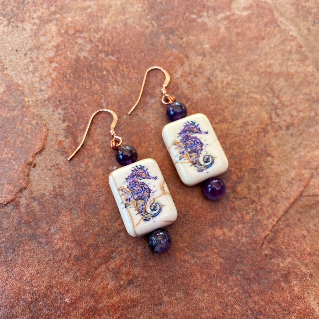 Painted seahorse stone and amethyst gemstone 14 kt rose GF drop earrings